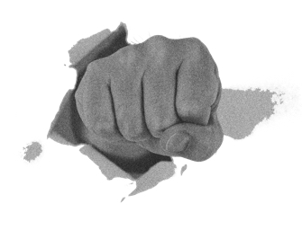 Image of a hand punching through wall