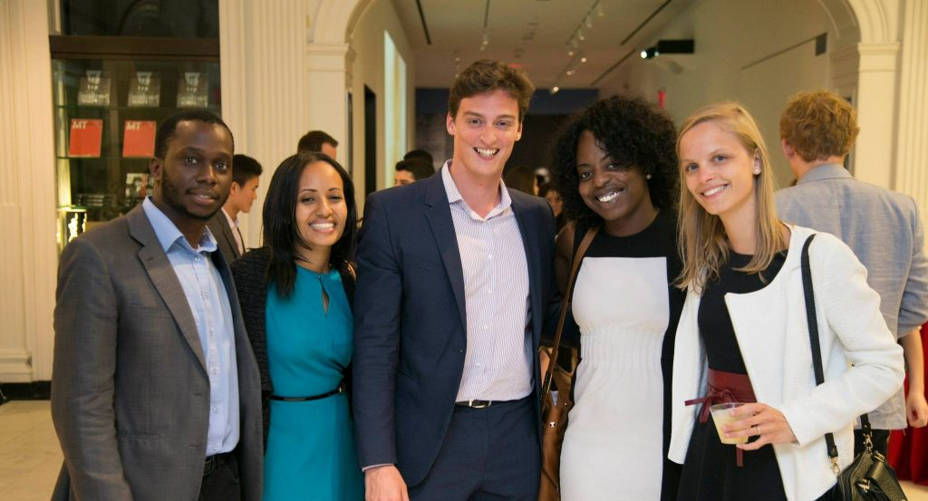 Image of a group of 5 Young Professional Board Members posing together at UJC's Night Out Gala.