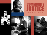 """Image of a collage of UJC client photos with the words """"Community Justice Awards 2021."""""""
