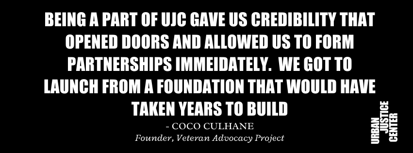 """Image of a quote from former UJC Project Director Coco Culhane: """"Being a part of UJC gave us credibility that opened doors and allowed us to forms partnership immediately. We got to launch from a foundation that would have taken years to build."""""""